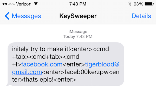 SMS from KeySweeper